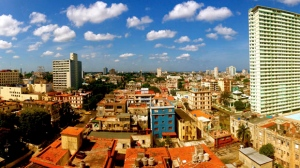This image provided by Chris Allen shows the view in Havana, Cuba, from his hotel room - room 1414 - at Hotel Capri in April 2014.  (Chris Allen via AP)