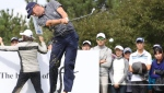 Justin Thomas of United States hits the ball on the forth hole during the first round of the CJ Cup at Nine Bridges, as the first official PGA Tour in South Korea, on Jeju Island, South Korea, Thursday, Oct. 19, 2017. (Park Ji-ho/Yonhap via AP)