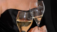 In this picture taken Saturday, Feb. 1, 2014 guests of the Ball de Pharmacy toast with their glasses of sparkling wine at the Hofburg palace in Vienna, Austria. (AP Photo/Hans Punz)