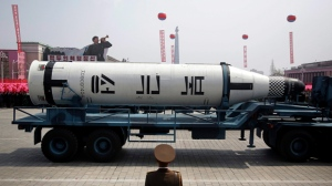 In this April 15, 2017 file photo, a submarine missile is paraded across the Kim Il Sung Square during a military parade, in Pyongyang, North Korea to celebrate the 105th birth anniversary of Kim Il Sung, the country's late founder. (AP Photo/Wong Maye-E, File)