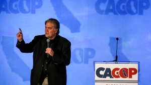 Steve Bannon, a former White House adviser to President Donald Trump, speaks at the California Republican Convention in Anaheim, Calf., on Friday Oct. 20, 2017. Bannon wants to oust Republican senators he feels are disloyal to President Donald Trump. (AP Photo/Ringo H.W. Chiu)
