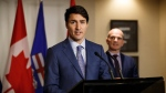 Prime Minister Justin Trudeau speaks during a media availability at the Fairmont Hotel Macdonald in Edmonton, Alta., on Saturday, Oct. 21, 2017. THE CANADIAN PRESS/Codie McLachlan