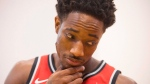 Toronto Raptors' DeMar DeRozan speaks to a journalist during a media day in Toronto on Monday, September 25 , 2017. THE CANADIAN PRESS/Chris Young