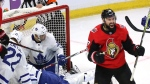 Ottawa Senators centre Nate Thompson (17) celebrates his goal against the Toronto Maple Leafs during first period NHL hockey action in Ottawa on Saturday, October 21, 2017. THE CANADIAN PRESS/Fred Chartrand