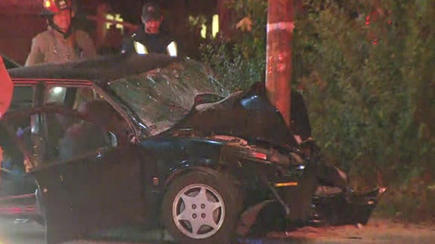 One man was rushed to a trauma centre with serious injuries after a single-vehicle collision in Midtown.