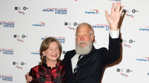 David Letterman with his wife Regina Lasko arrive at the Kennedy Center for the Performing Arts for the 20th annual Mark Twain Prize for American Humor presented to David Letterman on Sunday, Oct. 22, 2017, in Washington. (Photo by Owen Sweeney/Invision/AP)