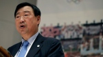 Lee Hee-beom, President of the PyeongChang Organising Committee for the 2018 Winters Olympics, Lee Hee-beom speaks, during a news conference at the Olympic Academy in the ancient Olympia, southwestern Greece, Monday, Oct. 23, 2017. The Olympic flame has been lit from the sun's rays, during the final dress rehearsal and will be transported by torch relay to Pyeongchang, South Korea, which will host the Feb. 9-25, 2018 Winter Olympics. (AP Photo/Thanassis Stavrakis)