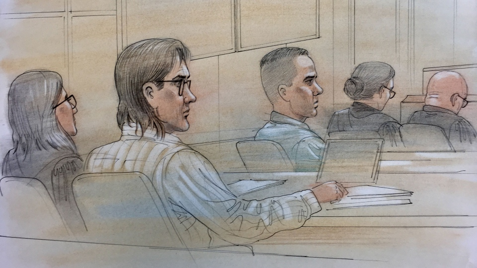 Dellen Millard and Mark Smich are seen in court in this sketch from Oct. 23, 2017.