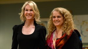 Ambassador of the United States Kelly Craft, left, stands with Governor General of Canada Julie Payette in Ottawa on Monday Oct. 23, 2017. Craft is among several new diplomats who are formally submitting their credentials to Payette at Rideau Hall. THE CANADIAN PRESS/Adrian Wyld