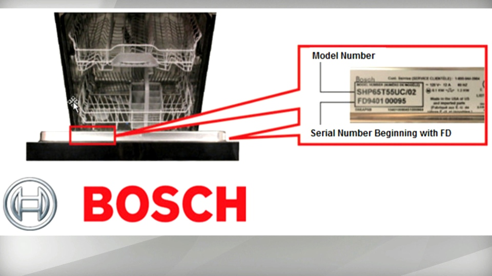 A recalled dishwasher and its serial number are pictured in this photo released by Health Canada.