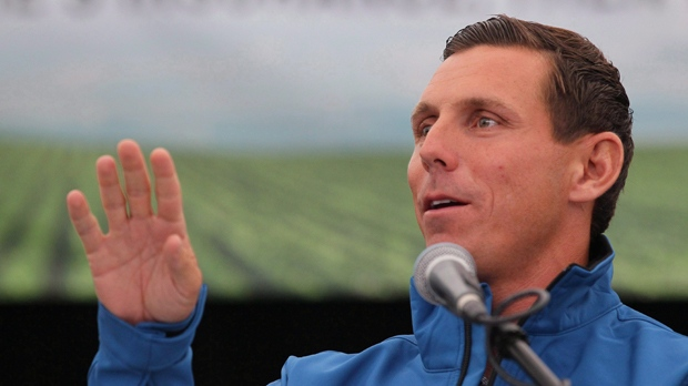 Patrick Brown speaks on the opening day of the International Plowing Match in Walton, Ont. on Tuesday, Sept. 19, 2017.  THE CANADIAN PRESS/Dave Chidley