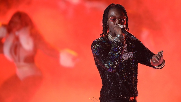 Offset, of Migos, performs at the BET Awards at the Microsoft Theater on Sunday, June 25, 2017, in Los Angeles. (Photo by Matt Sayles/Invision/AP)
