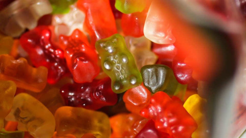 In this file photo, gummy bears sit in their package in Berlin, Germany, Friday, 24, 2017. (AP Photo/Markus Schreiber)