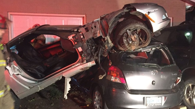 Man seriously injured after Corvette lands atop car in ...
