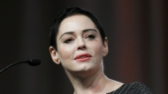 Actress Rose McGowan speaks at the inaugural Women's Convention in Detroit on Oct. 27, 2017. (AP / Paul Sancya)