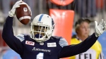 Toronto Argonauts running back Anthony Coombs (1) celebrates his touchdown during second half CFL action against the Ottawa Redblacks, in Toronto, Monday, July 24, 2017. Head coach Marc Trestman won't be easing Anthony Coombs back into the Toronto Argonauts' lineup. THE CANADIAN PRESS/Frank Gunn