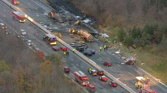 An aerial view of a devastating crash on Highway 400 near Barrie where at least 14 vehicles were involved and at least two people killed on Nov. 1, 2017.