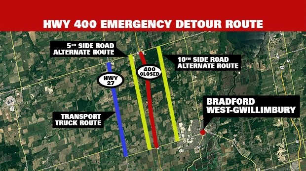 South Simcoe Police provided detour information for Tuesday night's fatal crash and ensuing closure. (CP24)