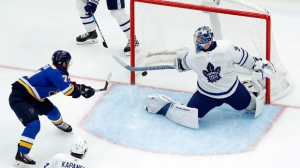 St. Louis Blues' Vladimir Sobotka, left, of the Czech Republic, scores past Toronto Maple Leafs goalie Frederik Andersen, of Denmark, as Leafs' Kasperi Kapanen (24), of Finland, watches during the third period of an NHL hockey game Saturday, Nov. 4, 2017, in St. Louis. The Blues won 6-4. (AP Photo/Jeff Roberson)