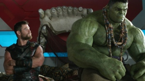 "This image released by Marvel Studios shows Chris Hemsworth, left, and the Hulk in a scene from, ""Thor: Ragnarok."" (Marvel Studios via AP)"