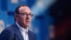 Actor Kevin Spacey speaks at an event in Munich, Germany, Sunday, Sept. 24, 2017. (Matthias Balk/dpa via AP)