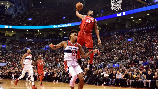 Raptors guard Powell out indefinitely with partially dislocated shoulder