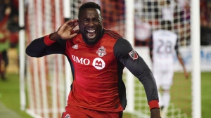 Toronto FC forward Jozy Altidore (17) celebrates after scoring against the Philadelphia Union during second half MLS soccer action in Toronto on August 23, 2017. THE CANADIAN PRESS/Nathan Denette