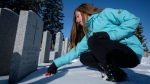 St. Matthew Catholic School student Sophia Castill along with others from Calgary schools placed poppies on more than 4,500 veterans' headstones in a remembrance ceremony in Calgary on Monday, Nov. 6, 2017. THE CANADIAN PRESS/Jeff McIntosh