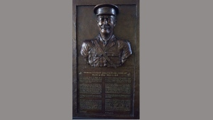 A bronzed relief of Lt.- Col. Samuel Sharpe created by artist Tyler Briley is seen in this undated handout photo. Hidden away somewhere on Parliament Hill is the bronzed relief of Lt.-Col. Samuel Sharpe. Finished two years ago, the sculpture appeared destined for a spot in the foyer outside the House of Commons to commemorate the former MP and recognize all Canadian veterans struggling with psychological injuries. THE CANADIAN PRESS/HO, Tyler Briley