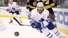 Toronto Maple Leafs' Nazem Kadri chases the puck during the first period of an NHL hockey game against the Boston Bruins in Boston, Saturday, Nov. 11, 2017. (AP Photo/Michael Dwyer)