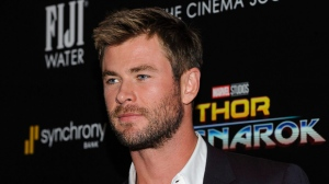 "Chris Hemsworth attends a special screening of Marvel Studios' ""Thor: Ragnarok"", hosted by The Cinema Society, at The Whitby Hotel on Monday, Oct. 30, 2017, in New York. (Photo by Christopher Smith/Invision/AP)"