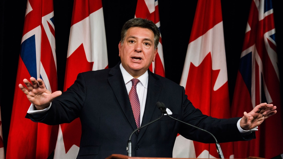 Ontario Finance Minister Charles Sousa speaks to reporters in Queens Park in Toronto on Tuesday, November 14, 2017. THE CANADIAN PRESS/Christopher Katsarov