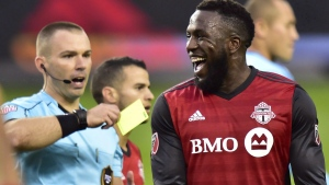 Toronto FC forward Jozy Altidore (17) reacts after receiving a yellow card during first half MLS soccer action against the New York Red Bulls, in Toronto on November 5, 2017. THE CANADIAN PRESS/Frank Gunn