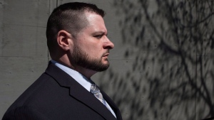 Const. James Forcillo leaves court in Toronto on Monday, May 16 , 2016, after a suspension in his sentencing hearing. THE CANADIAN PRESS/Chris Young