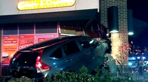 Police are investigating after a vehicle slammed into a Brampton restaurant. (Twitter/Peel Paramedics)