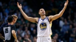 Golden State Warriors' Klay Thompson (11) protests a call during the fourth quarter of an NBA basketball game against the Boston Celtics in Boston, Thursday, Nov. 16, 2017. The Celtics won 92-88. (AP Photo/Michael Dwyer)