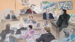 Crown attorney Ken Lockhart, right, questions retired OPP Det. Sgt. Jim Falconer, second from right, as photos are displayed and Justice Michael Code, centre top, Dellen Millard, front, and Mark Smich, red checked shirt, look on in this artist's sketch from court in Toronto on Thursday, Nov. 9, 2017. THE CANADIAN PRESS/Alexandra Newbould