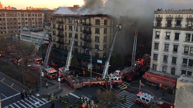 Crews battle 5-alarm apartment fire in Manhattan