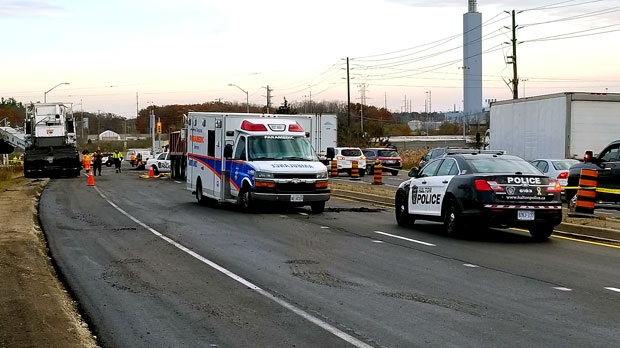Emergency crews are seen on scene of an industrial accident tin Oakville. (David Ritchie)