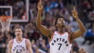 Toronto Raptors guard Kyle Lowry (7) celebrates during the second half of his team's 107-84 win over the New York Knicks in NBA basketball action in Toronto on Friday, November 17, 2017. THE CANADIAN PRESS/Chris Young