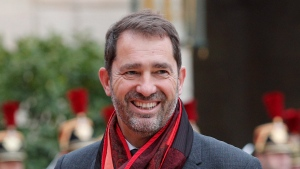 Christophe Castaner, a close aide to French President Emmanuel Macron, arrives at the Elysee Palace Sunday, May 14, 2017 in Paris. Castaner, a government spokesman and Macron loyalist, was chosen Saturday as the Republic on the Move! party's leader for the next three years. (AP Photo/Christophe Ena)