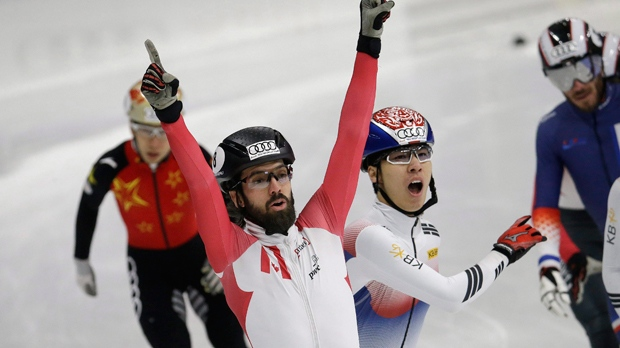 Canada's Charles Hamelin celebrates after winning the me's 1500 meter final race at the ISU World Cup Short Track Speed Skating competition in Seoul, South Korea, Saturday, Nov. 18, 2017. (AP Photo/Ahn Young-joon)
