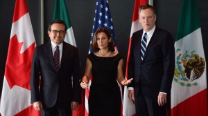 Minister of Foreign Affairs Chrystia Freeland meets for a trilateral meeting with Mexico's Secretary of Economy Ildefonso Guajardo Villarreal, left, and Ambassador Robert E. Lighthizer, United States Trade Representative, during the final day of the third round of NAFTA negotiations at Global Affairs Canada in Ottawa on September 27, 2017. Canada and Mexico are prepared to engage the United States on one of its most contentious demands for NAFTA, in an early indication of how proposals currently deemed non-starters could in theory be redesigned into something all three countries can live with. THE CANADIAN PRESS/Sean Kilpatrick