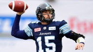 Toronto Argonauts quarterback Ricky Ray (15) fires a pass against the Saskatchewan Roughriders during the CFL Eastern final, Sunday, November 19, 2017 in Toronto. THE CANADIAN PRESS/Frank Gunn