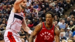 Toronto Raptors guard DeMar DeRozan (10) dribbles towards the basket in first half NBA basketball action against the Washington Wizards in Toronto on Sunday, November 19, 2017. THE CANADIAN PRESS/Christopher Katsarov