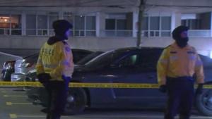 Police investigate gunfire in the city's Entertainment District Sunday November 19, 2017.