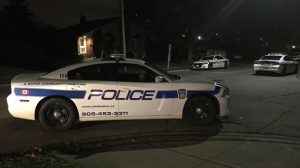 Police are searching for suspects after an armed home invasion in Mississauga on Sunday night. (Mike Nguyen/ CP24)