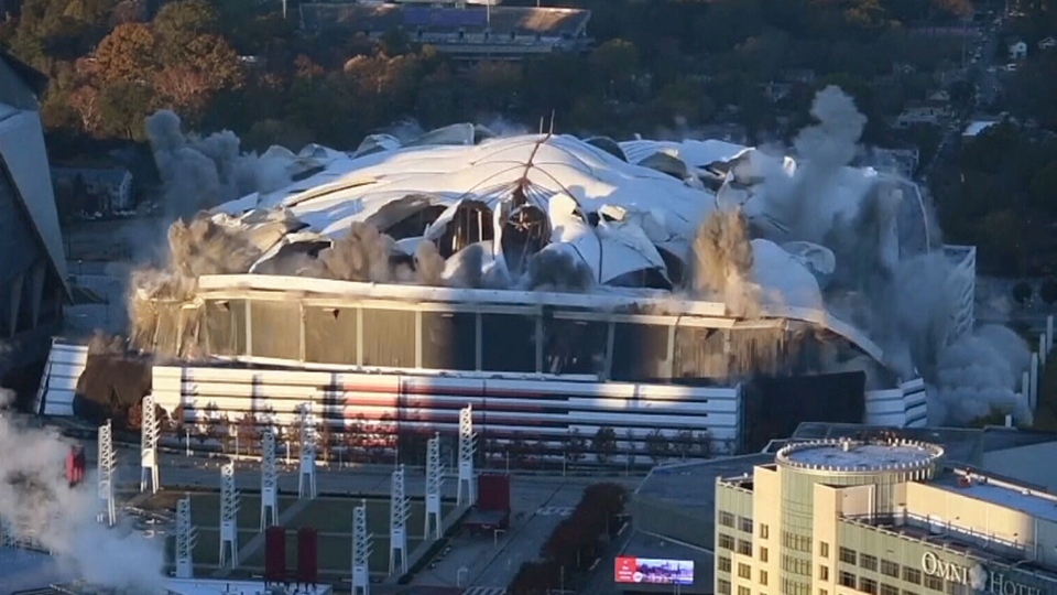 The Georgia Dome was imploded on Monday morning.