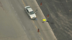 A pedestrian struck by a vehicle in Brampton has been taken to hospital with potentially life-threatening injuries.