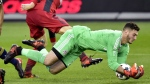 Toronto FC goalkeeper Alex Bono (25)makes a save during first half MLS soccer action against the New York Red Bulls, in Toronto on Sunday, November 5, 2017. THE CANADIAN PRESS/Frank Gunn
